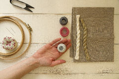 Embroidery tools with hoop and threads Royalty Free Stock Photo
