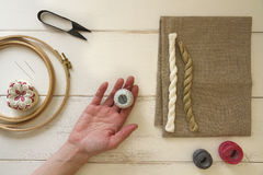 Embroidery tools with hoop and threads Stock Photos