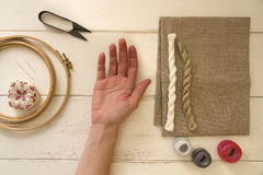 Embroidery tools with hoop and threads Stock Images