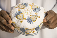Embroidery on a traditional celebration hat - sub-saharian Africa Royalty Free Stock Photos