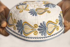 Embroidery on a traditional celebration hat - sub-saharian Africa Royalty Free Stock Image