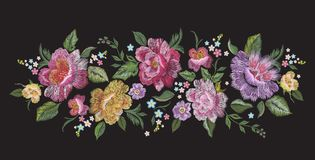 Embroidery traditional floral pattern with roses. Stock Photo