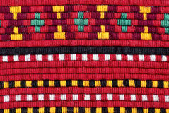 Embroidery. Traditional materials and bulgarian embroidery red tint Royalty Free Stock Images