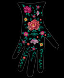 Embroidery trend ethnic floral pattern on glove design. Vector traditional folk bird with flowers ornament on black background vector illustration