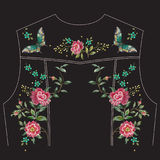 Embroidery trend ethnic floral pattern with roses and butterflie stock illustration