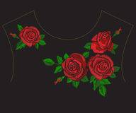 Embroidery trend ethnic neckline floral pattern with red roses. Vector style traditional folk flowers ornament on black background for fashion design vector illustration