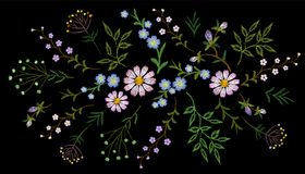 Free Embroidery Trend Floral Pattern Small Branches Herb Daisy With Little Blue Violet Flower. Ornate Traditional Folk Stock Photo - 108840470