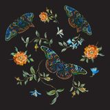 Embroidery trend floral pattern with wild roses and butterflies. Royalty Free Stock Images
