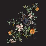 Embroidery trend floral pattern with wild roses and butterfly. vector illustration