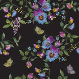 Embroidery trend floral seamless pattern with pansies and butter. Flies. Vector traditional embroidered flowers decor on black background for fabric design royalty free illustration