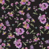 Embroidery trend floral seamless pattern with pansies and forget. Me not. Vector traditional folk flowers decor on black background for clothing design royalty free illustration