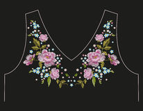 Embroidery trend neck line floral pattern with roses. Embroidery traditional neck line floral pattern with roses and forget me not flowers. Vector folk trend royalty free illustration