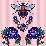 Embroidery trend patches with roses and bee. Vector embroidered flowers elements for fashion design royalty free illustration