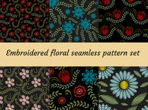 Embroidery trendy floral seamless pattern. Flowers ornament endless background, texture. Vector illustration. Embroidery trendy floral seamless pattern. Flowers Royalty Free Stock Image