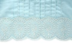 Embroidery truquoise fabric white flower design. Pattern Stock Image