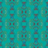 Embroidery turquoise damask seamless pattern. Baroque style flor. Al vector tapestry background. Vintage embroidered flowers, leaves, swirls, scrolls. Antique stock illustration