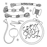EMBROIDERY Vector Illustration Set for sewing and embroidery royalty free illustration