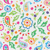 Embroidery vector seamless decorative floral pattern, ornament for textile decor. Bohemian handmade style background Royalty Free Stock Photos