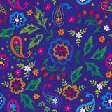 Embroidery vector seamless decorative floral pattern, ornament for textile decor. Bohemian handmade style background Stock Image