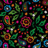 Embroidery vector seamless decorative floral pattern, ornament for textile decor. Bohemian handmade style background Royalty Free Stock Photo