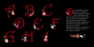 Embroidery vintage alphabet set. Initial drop cap decorative flowers. Ornate red vector illustration letters signs A B C Stock Photos