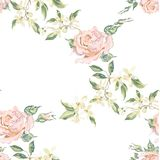 Embroidery vintage floral seamless pattern with red roses. Royalty Free Stock Photography