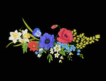 Embroidery vintage flowers bouquet of poppy, daffodil, anemone,. Violet in botanical style on black background. Stock vector illustration Stock Photos