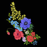 Embroidery vintage flowers bouquet of poppy, daffodil, anemone, Royalty Free Stock Photo