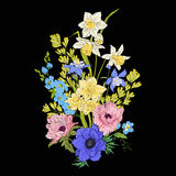 Embroidery vintage flowers bouquet of poppy, daffodil, anemone, Stock Image