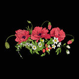 Embroidery vintage flowers bouquet of poppy, daffodil, anemone, Stock Photography