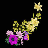 Embroidery vintage flowers bouquet of poppy, daffodil, anemone, Stock Photo