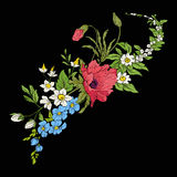 Embroidery vintage flowers bouquet of poppy, daffodil, anemone, Royalty Free Stock Images