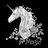 Embroidery white floral pattern with dog roses and forget me not flowers. Unicorn fantasy fairytale dream vector. Traditional folk fashion ornament on black stock illustration