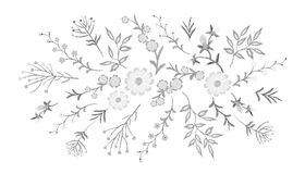 Embroidery white lace floral pattern small branches wild herb with little blue violet field flower. Ornate traditional. Folk fashion patch design black Royalty Free Stock Photo