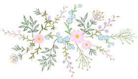 Embroidery white lace floral pattern small branches wild herb with little blue violet field flower. Ornate traditional. Folk fashion patch design black Stock Images