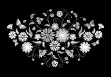 Embroidery white wild flowers on a black background. Imitation lace. fashionable clothing decoration. traditional pattern. vector illustration stock illustration