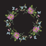 Embroidery wreath of flowers. Vector traditional folk floral pattern with dog roses and blue butterflies on black background for design vector illustration