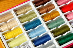 Embroidery yarn bobbins Royalty Free Stock Images