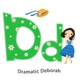 Embroma alfabeto Letras inglesas con los caracteres de los niños de la historieta D para el sombrero perdido de la muchacha dramá stock de ilustración