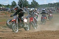 Embroma competir con cruzado del moto Imagen de archivo
