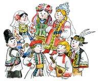 Embroma costu tradicional multicultural stock de ilustración
