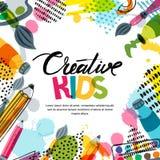Embroma el arte, educación, concepto de la clase de la creatividad Vector la bandera, fondo con caligrafía, lápiz, cepillo, pintu ilustración del vector