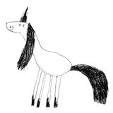 Embroma el dibujo de un unicornio mágico lindo Foto de archivo