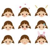 Embroma emoji Caras lindas de la muchacha con emociones Iconos del humor del vector Foto de archivo libre de regalías
