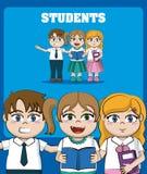 Embroma historietas de los estudiantes ilustración del vector