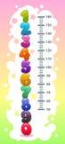 Embroma la carta de la altura con números coloridos de la historieta divertida ilustración del vector