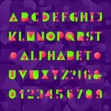 Embroma la fuente del alfabeto Letras divertidas, números y símbolos del estilo geométrico abstraiga el fondo Fotografía de archivo libre de regalías