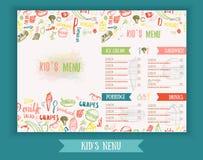 Embroma la plantilla dibujada mano colorida linda del vector del menú Diseño del menú de los niños para el partido, café Bandera  Foto de archivo