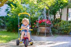 Embrome al muchacho que conduce el triciclo o la bicicleta en jardín Imagen de archivo