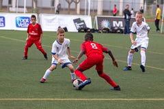 Embrome el campeonato del fútbol del ` s en Sant Antoni de Calonge en España Imagen de archivo libre de regalías